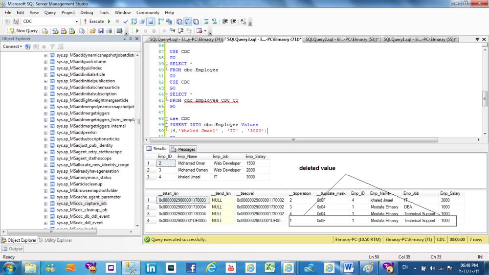 Change data capture (CDC) in SQL Server 2008 (6/6)