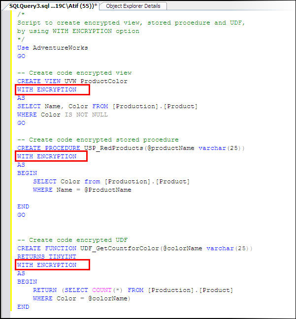how to get object definition in sql server