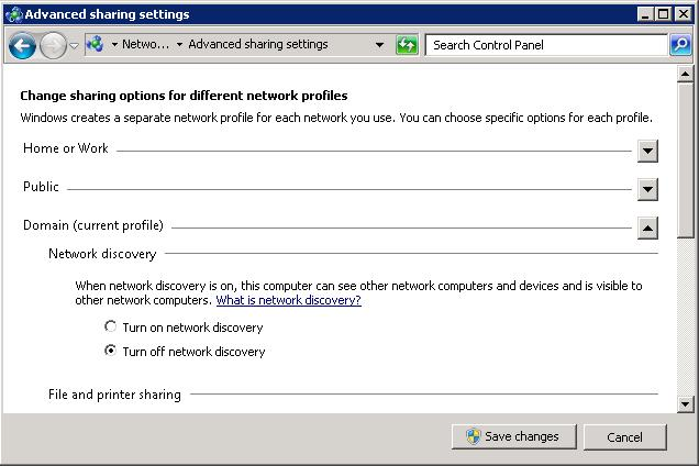 Enable Network Discovery Server 2008 R2