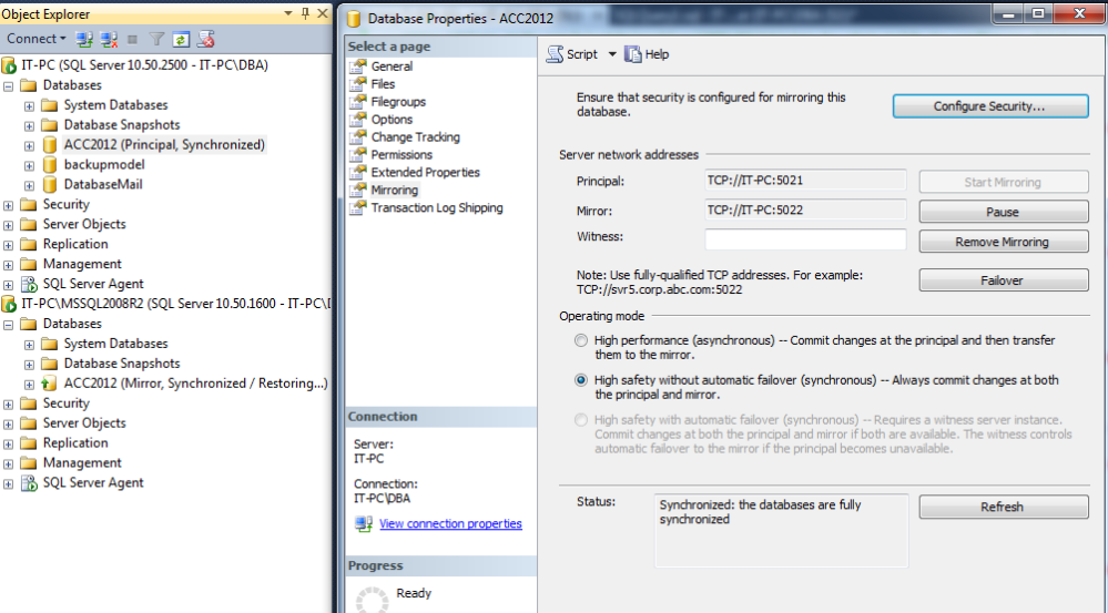 How to add or replace database mirroring witness to an existing Mirroring Database? (1/6)