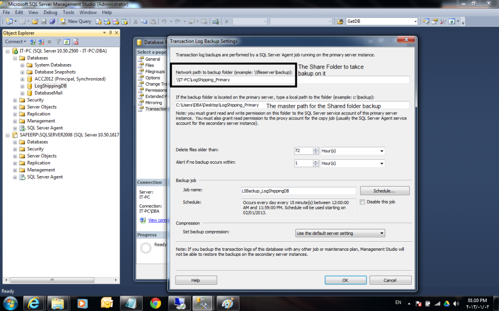 Log Shipping in SQL Server 2008R2 Step by Step (3/6)