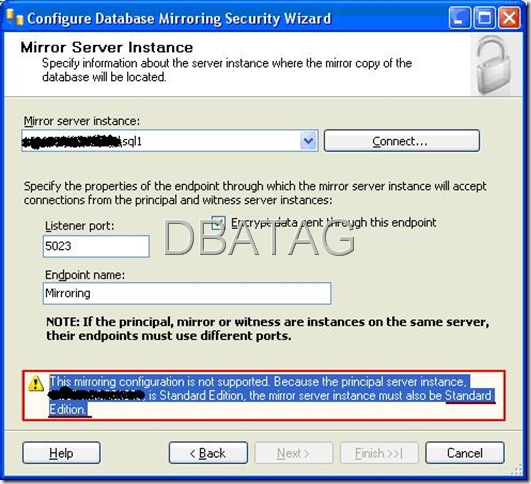 setting up database mirroring in sql server 2008 using t
