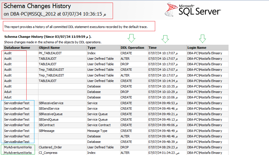 History of all Committed DDL Statement Executions | SQL Server