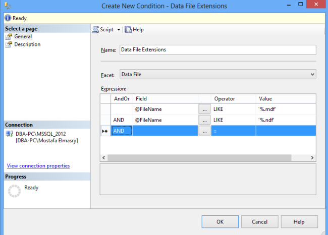 Data File Extensions Conditions