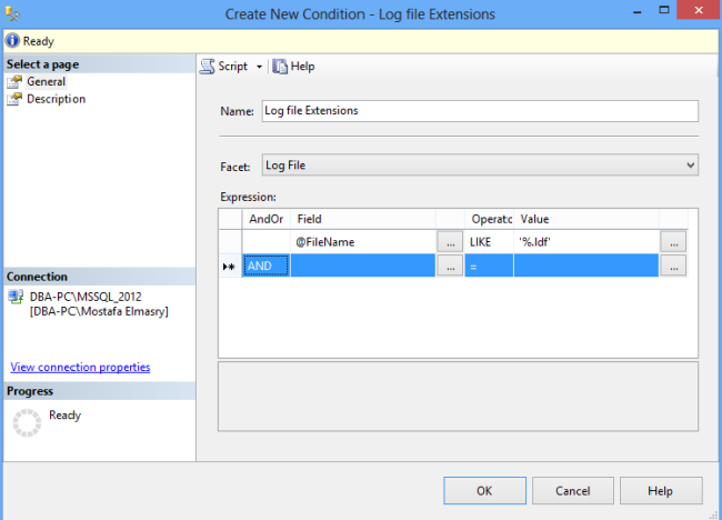 Log File Extensions Conditions