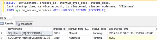 SQL Server Services Information