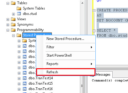 Referesh Stored Procedure