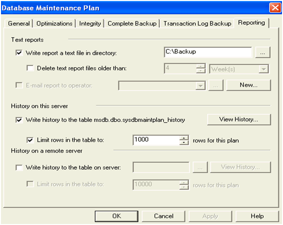 Database Maintenance Plan